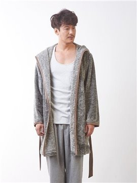Grey Soft Nap Men's Bathrobe with Hood