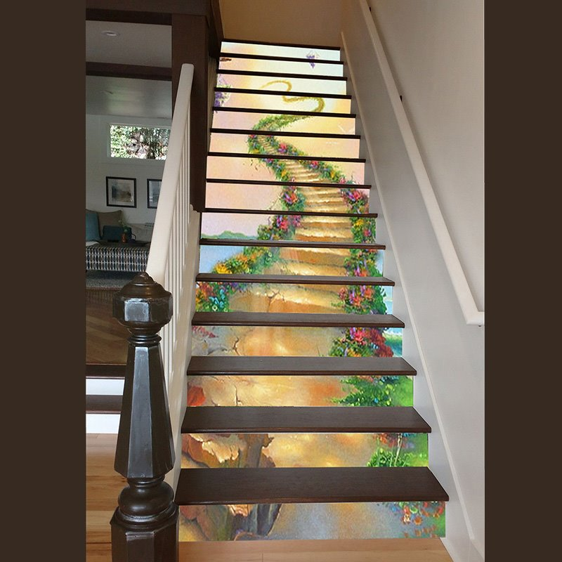 Vivid Unique Design Ladder to Heaven Pattern Waterproof Splicing 3D Stair Step Stickers
