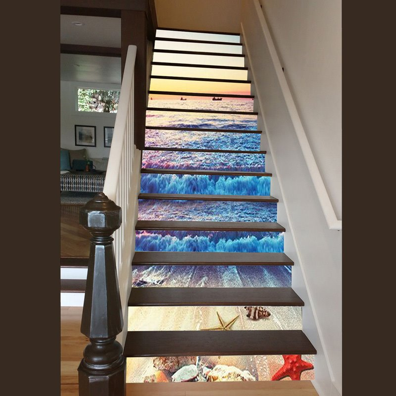51 Sunset And Sea Wave 3D Waterproof Staircase Stickers/Wall Stickers
