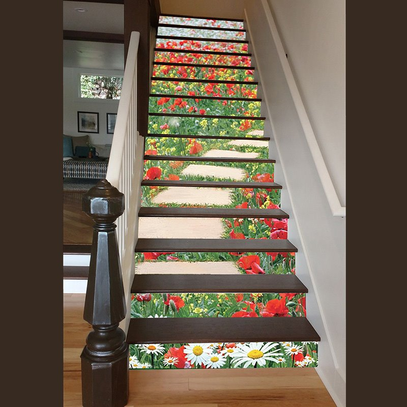 Gorgeous Flowers Stone Path Pattern Home Decorative 3d