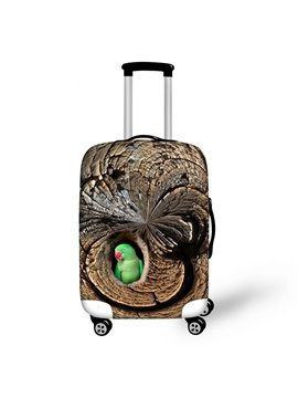 Parrot in Tree Hole Pattern 3D Painted Luggage Protect Cover