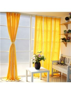 Bright Yellow Splicing Cotton and Linen Custom Curtain