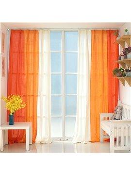 Orange and White Three Colors Cloth Splicing Custom Curtain