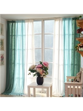 Green Blue and White Three Colors Splicing Cotton and Linen Custom Curtain