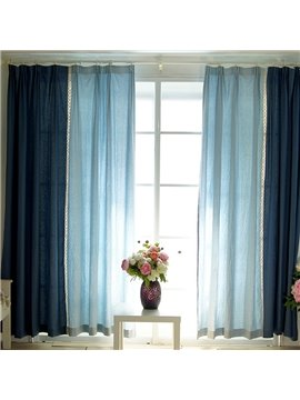 Double Blue Cloth Splicing Cotton and Linen Custom Curtain