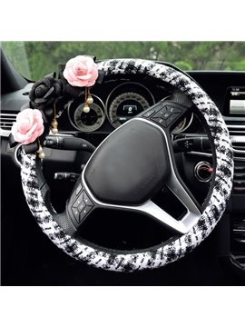 Durable PU Leather Material With Contrast Color And Flower Car Steering Wheel Cover