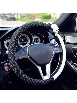 Durable PU Leather With Beautiful Camellias Flower Medium Car Steering Wheel Cover