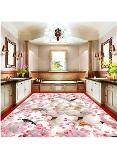 Amusing Romantic Pink Flower Petals and Fishes in the Water Waterproof 3D Floor Murals