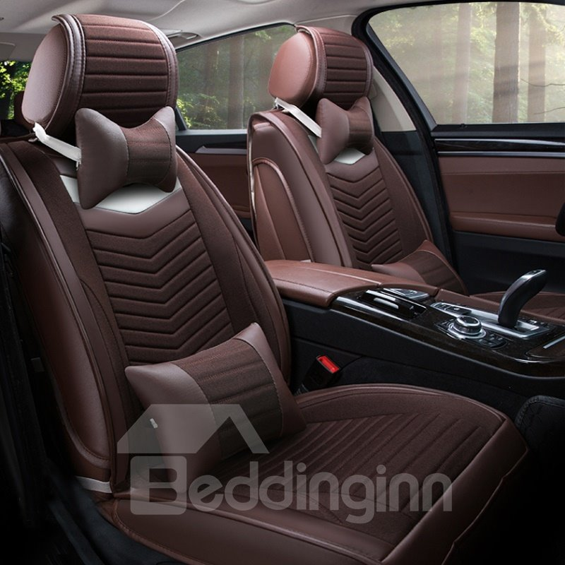 classic business coffee style with genuine pu leather material universal five car seat cover. Black Bedroom Furniture Sets. Home Design Ideas