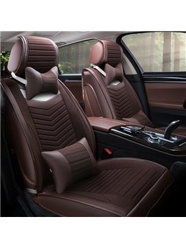 Classic Business Coffee Style With Genuine PU Leather Material Universal Five Car Seat Cover
