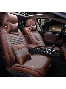 New Luxurious Business Style Durable PU Leather And Flax Mixing Five Universal Car Seat Cover