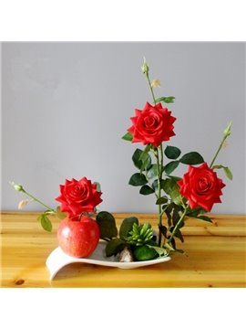 Vivid Artificial Romantic Roses European Style Decorative Flower Sets