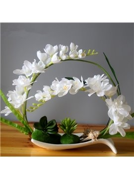 White/Purple/Red Phalaenopsis and Flower Pot Artificial Flower Set
