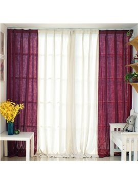 Pink and White Cloth Splicing Cotton and Linen Custom Curtain