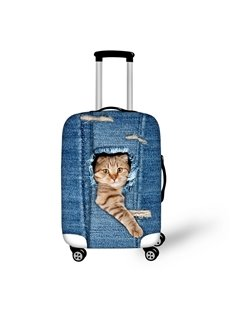 Funny Cat Denim Pattern 3D Painted Luggage Protect Cover