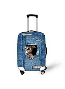 Cat in Demin Pattern 3D Painted Luggage Protect Cover