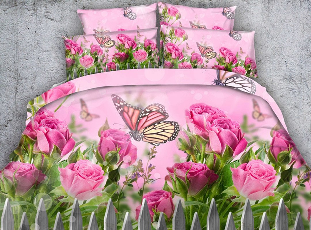 Butterfly and Pink Roses Printed Cotton 4-Piece 3D Bedding Sets/Duvet Covers
