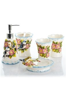 Lovely Birds Design Ceramics 5-Pieces Bathroom Accessories