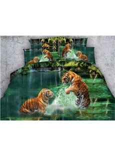 Vivid 3D Tigers Play in Water Print 5-Piece Comforter Sets