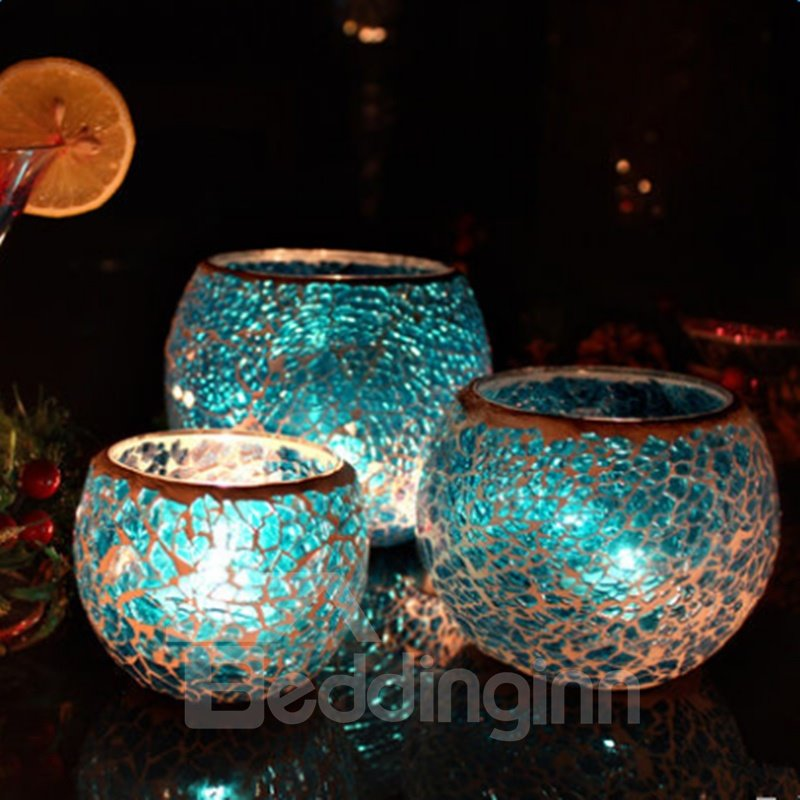 Blue Sparkling 3 Pieces European Style Romantic Candle Holder