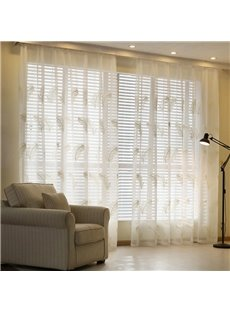 White Feather Embroidery Custom Sheer Curtain