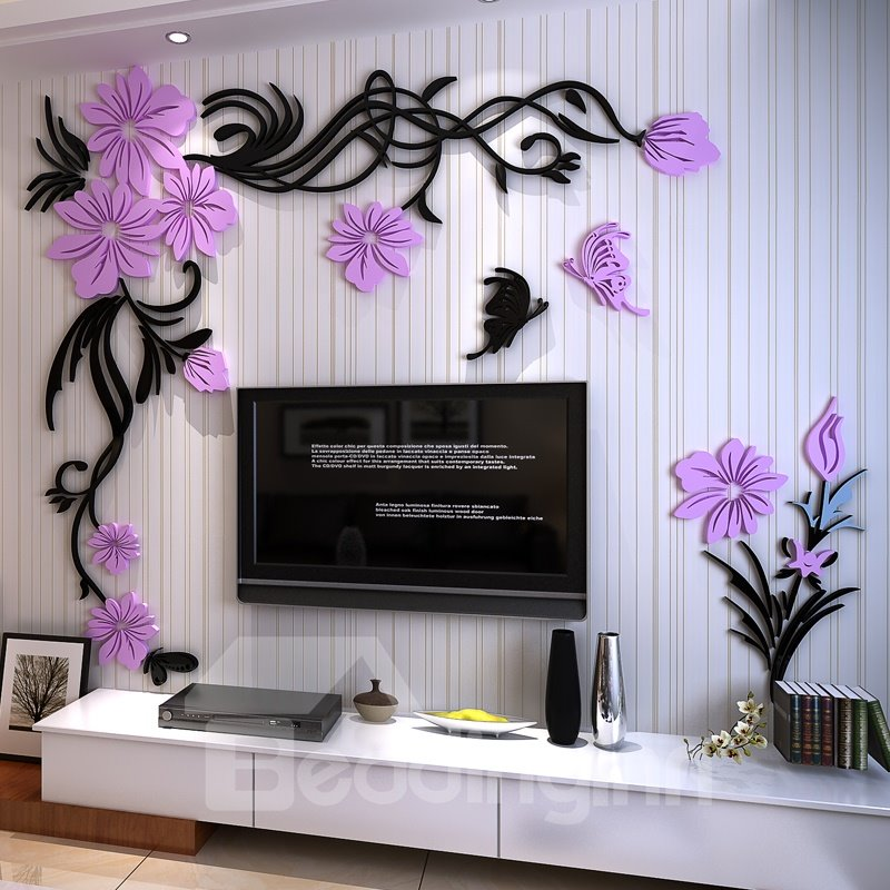 Purple And Black Acrylic Flower And Butterfly 3d Tvsofa Background