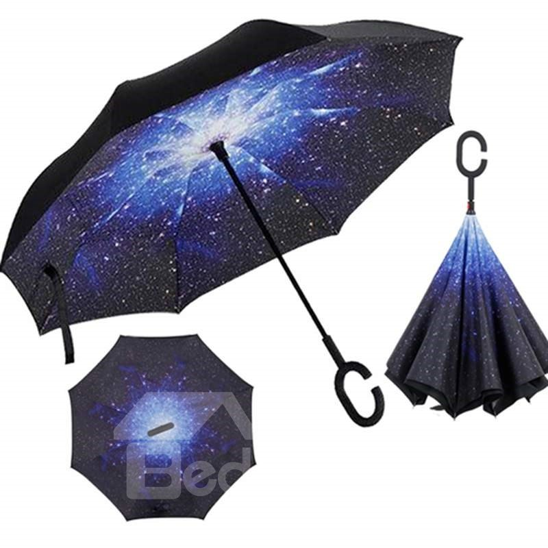 Amazing Galaxy Pattern Double Layer Windproof Reverse Folding Reversible Umbrella