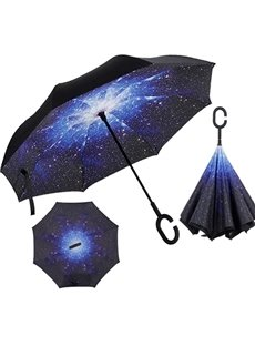 Amazing Galaxy Pattern Double Layer Windproof Reverse Umbrella