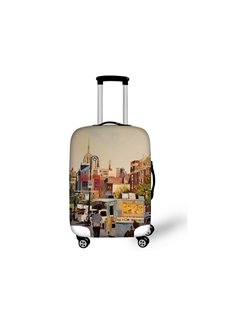 Oil Style City Street Pattern 3D Painted Luggage Protect Cover