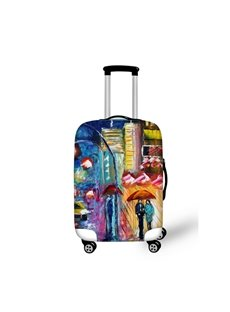 Oil Style Rainy and Couple Pattern 3D Painted Luggage Protect Cover