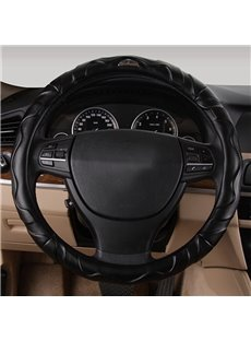 Durable PU Leather Material With Beautiful Arc Lines Medium Car Steering Wheel Cover
