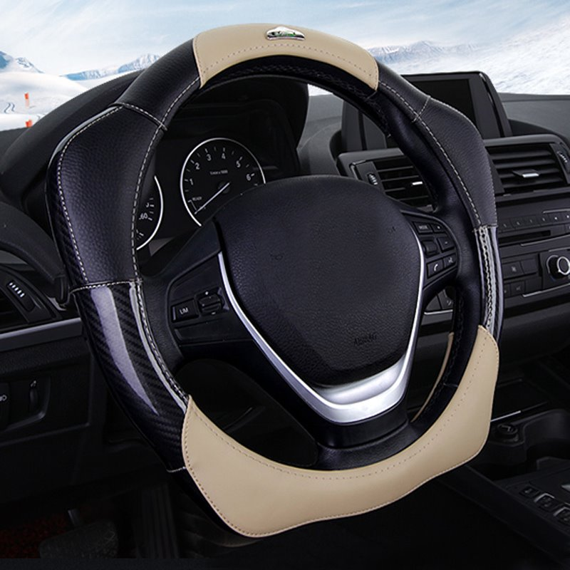 3D Design Easy Installation And Extra Grip Leather Durable Car Steering Wheel Cover Suitable for Most Round Steering Wheels