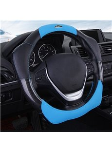 New Fashion 3D Effect Real Leather Material Blue Sport Style Medium Car Steering Wheel Cover
