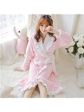 Sweet Pink Coral Cashmere Women's Hooded Bathrobe