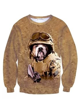 Long Sleeve Dog Solider Pattern Inner Suede 3D Painted Hoodie