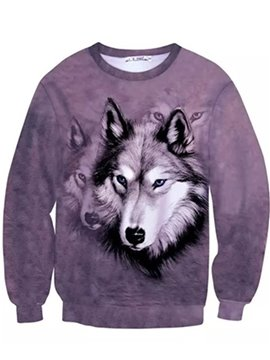 Cool Long Sleeve Wolve Pattern Inner Suede 3D Painted Hoodie