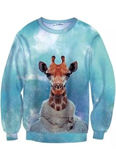 Long Sleeve Giraffe in Cloth Pattern Inner Suede 3D Painted Hoodie