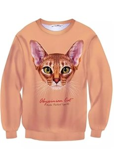 Adorable Long Sleeve Cat Pattern Inner Suede 3D Painted Hoodie