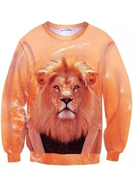 Stylish Long Sleeve Lion King Pattern Inner Suede 3D Painted Hoodie