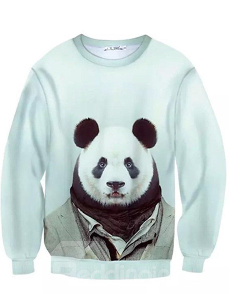 Long Sleeve Panda Sir Pattern Inner Suede 3D Painted Hoodie