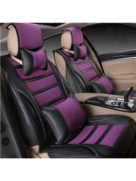Charming Purple Color Matched PU Leather Ice Silk Mixing Universal Five Car Seat Cover