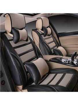 Fashion Contrast Color Strip Design Durable PU Ice Silk Material Universal Five Car Seat Cover