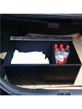 Bright High Capacity Foldable PU Leather Material Car Trunk Organizer