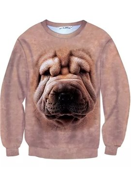 Long Sleeve Shar Pei Face Pattern Inner Suede 3D Painted Hoodie