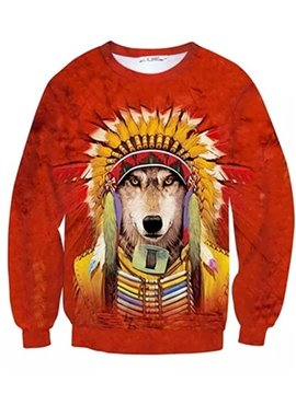 Long Sleeve Tribal Chief Wolf Pattern Inner Suede 3D Painted Hoodie