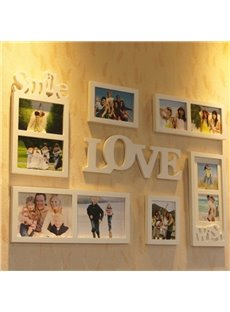 White Romantic Smile and Love 6 Pieces Home Decorative Wall Photo Frame