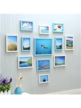 Fancy Heart Shaped 12 Pieces Wooden Decorative Wall Photo Frames