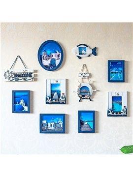 Blue Mediterranean Style 9 Photos Wooden Wall Photo Frames