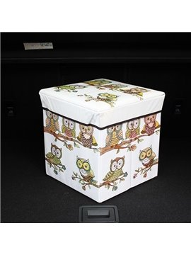 Cute Owl Pattern High Capacity Cube Design Car Trunk Organizer
