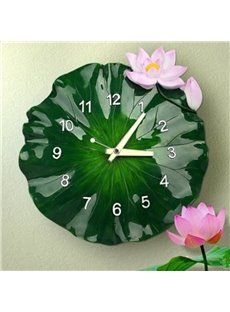 Natural Design Lotus Leaf Shape Resin Battery Wall Clock